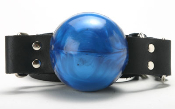 BLUE LEATHER BALL GAG