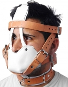 WHITE AND TAN HOSPITAL STYLE LEATHER BONDAGE GEAR MUZZLE