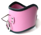 TALL LOCKING PINK LEATHER POSTURE COLLAR BONDAGE GEAR