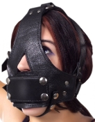 LEATHER BISHOP HEAD HARNESS GAG BONDAGE TOY