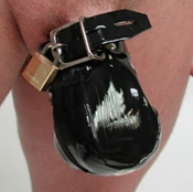 LOCKING RUBBER PENIS PRISON CHASTITY DEVICE