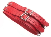 RED PREMIUM GARMENT LEATHER BONDAGE WAIST CUFF