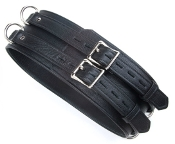 BLACK PREMIUM GARMENT LEATHER BONDAGE WAIST CUFF