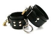 BONDAGE GEAR STRICT LEATHER LOCKING RUBBER WRIST RESTRAINTS