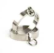 BONDAGE GEAR BRUSHED STEEL LOCKING OVAL WRIST OR ANKLE CUFFS