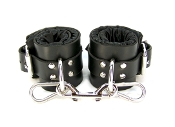 BLACK SATIN LINED LEATHER ANKLE BONDAGE CUFFS