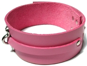 KINKLAB PINK BOUND LEATHER COLLAR BONDAGE GEAR