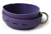 PURPLE LEATHER BONDAGE COLLAR WITH LOCKING BUCKLE